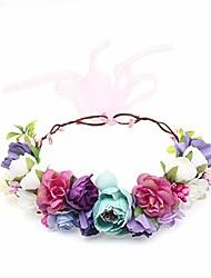 cheap -handcrafted blush pink white flower girl crown bridesmaid hair wreath dark purple wedding floral crown halo bohemian hair vine flower headband flower girl rose headpie (one size, multicolor)