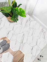 cheap -10 PCS Creative Marble White Marble Hexagonal Non-slip Floor Pvc Sticker Kitchen Bathroom Floor Waterproof Self-adhesive Diy Removable Wall Sticker