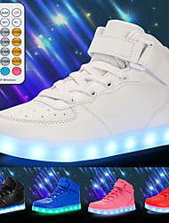 cheap -Boys' Girls' Sneakers LED Shoes USB Charging Athletic Shoes for Kids Luminous Fiber Optic Shoes PU Remote Control Little Kids(4-7ys) Big Kids(7years +) Daily Walking Shoes White Black Red Fall Winter