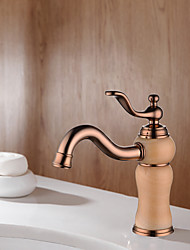 cheap -Bathroom Sink Faucet Luxury Stone Heavy Duty Style Single Handle Single Hole All Copper / Brass and Natural Yellow/Rosin Jade / Marble Rose Gold Basin Lavatory Mixer Tap Deck Mount Vanity Sink Faucets