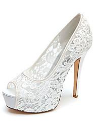 cheap -Women's Wedding Shoes Stiletto Heel Peep Toe Lace Braided White Black Pink