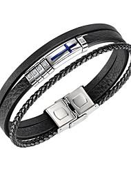 cheap -Men's Cubic Zirconia Bracelet Classic Fashion Fashion Leather Bracelet Jewelry Black For Anniversary Birthday Festival