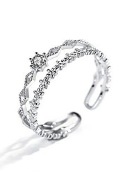 cheap -Open Cuff Ring Double Layered Silver Rhinestone Alloy Fashion 1pc Adjustable / Women's