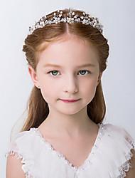 cheap -Flower Girl Hair Accessory, Pearl Headband Princess Wedding Headpiece Crystal Headwear for Wedding Tiara Hair Pieces Baby Girl-Suitable for Shows, Children' Day(White)