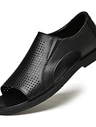 cheap -Men's Sandals Leather Shoes Flat Sandals Casual Classic British Daily Outdoor Nappa Leather Cowhide Breathable Non-slipping Wear Proof Booties / Ankle Boots Black Spring Summer