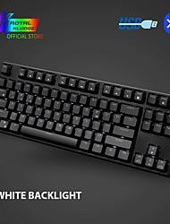 preiswerte -rk987 mechanische Tastatur 87 Tasten weiße LED Hintergrundbeleuchtung Tenkeyless Gaming-Tastatur USB / drahtlose Bluetooth-Tastatur Gaming / Büro