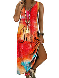 cheap -2021 cross-border wish aliexpress hot style european and american v-neck amazon independent station printing sleeveless long dress
