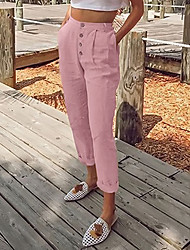 cheap -Women's Basic Chinos Pants Solid Colored Black Blushing Pink Dusty Blue Light gray Brown