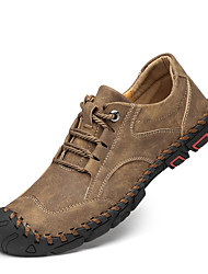 cheap -Men's Sneakers Crochet Leather Shoes Comfort Shoes Sporty Casual Daily Outdoor Walking Shoes Trail Running Shoes Nappa Leather Cowhide Breathable Handmade Non-slipping Booties / Ankle Boots Black
