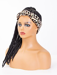 cheap -wig headgear factory amazon fashion leopard print headscarf long braid wig chemical fiber headgear factory stock