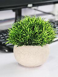 cheap -Desktop Simulation Bonsai Green Plant Short Needle Grass Half Round Paper Pulp Basin Simulation Bonsai With Basin Style 12cm