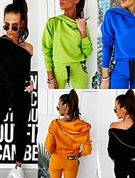 cheap -Women's Sweatsuit 2 Piece Set Pure Color Zipper Slash Neck Letter & Number Sport Athleisure Clothing Suit Long Sleeve Breathable Soft Comfortable Everyday Use Casual Daily Outdoor / Winter