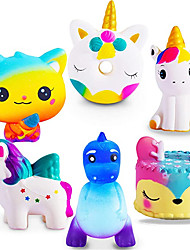 cheap -Jumbo Squishies Slow Rising 6 Pack Squishies Animal Newest Unicorn Squishy Toys Party Favors Goodies Bags Class Prize Cream Scented & Kawaii Squishys Stress Relief Toys for Adults Kids