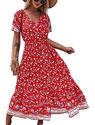 cheap -women's floral maxi dress split boho beach dresses short sleeve v neck empire waist loose a-line black medium dresses