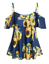 cheap -Women's Plus Size Tops Blouse Print Graphic Sunflower Large Size V Neck Sleeveless Streetwear Big Size S M L XL XXL White Blue Blushing Pink