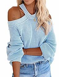 cheap -exlura women's cold shoulder sweater tops criss cross backless knit pullover jumper blue