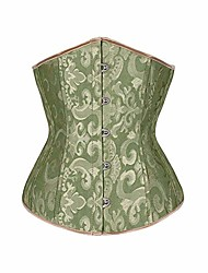 cheap -Corset Women's Plus Size Corsets Underbust Corset Classic Tummy Control Fashion Abstract Flower Hook & Eye Lace Up Nylon Polyester / Cotton Christmas Halloween Wedding Party Birthday Party Fall