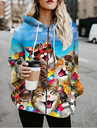 cheap -Women's Jackets Cat Print Casual Fall Jacket Regular Daily Long Sleeve Air Layer Fabric Coat Tops Light Blue