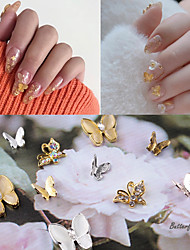 cheap -14Pcs/set Nail Decoration Set Aurora Butterfly Cat Eye Butterfly Three-dimensional Metal Diy Nail Polish Decoration With Nail Jewelry