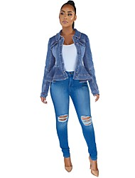 cheap -foreign trade cross-border wish amazon aliexpress european and american women's clothing slim slim denim jacket with wood ears hem