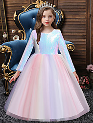 cheap -Princess Floor Length Party / Formal Evening Flower Girl Dresses - Organza / Satin / Polyester Long Sleeve Jewel Neck with Sash / Ribbon / Splicing / Paillette