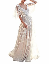 cheap -women's bohemian wedding dresses lace bridal gown backless short sleeve v neck beach wedding party dress (white, 2xl)