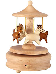 cheap -Carousel Music Box Wooden Merry-Go-Round Horse Musical Box Turn Horse Shaped Wood Crafts Birthday Home Decor