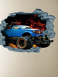 cheap -3D Broken Wall Flame Drift Off-Road Vehicle Home Hallway Background Decoration Can Be Removed Stickers