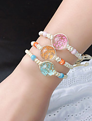 cheap -3pcs Women's Bracelet Bangles Vintage Bracelet Loom Bracelet Braided Flower Weave Trendy Korean Cute Sweet Glass Bracelet Jewelry Rainbow For Gift Prom Birthday Beach Festival / Crystal Bracelet