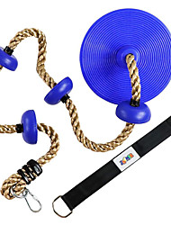 cheap -Climbing Rope with Platforms and Dis Swing Seat Set Accessory Including Bonus Hanging Strap & Carabiner Blue