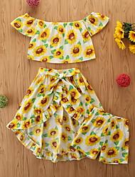 cheap -Kids Girls' Clothing Set Casual Graphic Print Sleeveless Basic Regular Knee-length Long Yellow