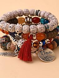 cheap -4pcs Women's Charm Bracelet Bead Bracelet Layered Wings Fashion European Boho Resin Bracelet Jewelry White / Red For Gift Beach Festival