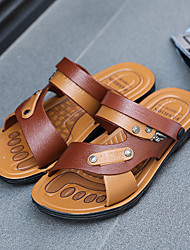 cheap -Men's Sandals Casual Beach Daily Walking Shoes PU Breathable Non-slipping Wear Proof Brown Summer