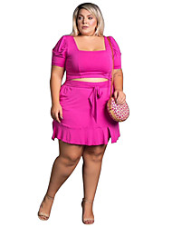 cheap -independent station ebay amazon new european and american cross-border 200 catties fat lady plus size women's short skirt casual two-piece suit