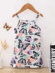 cheap -Baby Girls' Active Floral Ruffle Print Sleeveless Knee-length Dress Blue