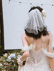 cheap -Two-tier Cute Wedding Veil Blusher Veils with Trim 30 cm Lace / Tulle