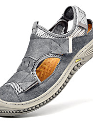 cheap -Men's Sandals Crochet Leather Shoes Flat Sandals Casual Beach Roman Shoes Daily Outdoor Nappa Leather Cowhide Breathable Non-slipping Wear Proof Booties / Ankle Boots Black Beige Gray Spring Summer