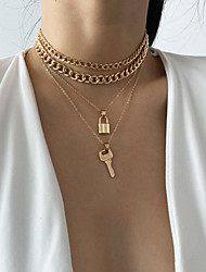 cheap -retro necklace creative lock-shaped necklace key combination thick chain elements,
