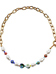 cheap -Women's Choker Necklace Beaded Necklace Beads Colorful Fashion Holiday Cute Pearl Acrylic Alloy Picture color 47 cm Necklace Jewelry 1pc For Gift Birthday Party Festival / Pearl Necklace