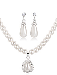 cheap -Women's Jewelry Set Bridal Jewelry Sets 3D Precious Pear Fashion Imitation Pearl Silver Plated Earrings Jewelry White For Christmas Wedding Halloween Party Evening Gift 1 set