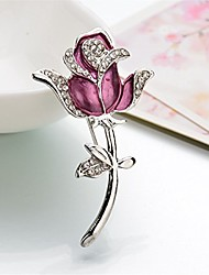 cheap -reizteko vintage inspired crystal rhinestone rose flower brooch pin flower ribbon bow pendant (purple)