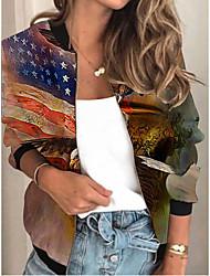 cheap -Women's Jackets Print Print Sporty Spring Jacket Regular Daily Long Sleeve Air Layer Fabric Coat Tops Yellow