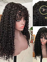 cheap -Deep Wave Wig With Bangs Scalp Top Full Machine Made Wig Glueless Remy Brazilian Curly Human Hair Wigs For Women