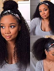 cheap -Headband Wig 150% Density Deep Kinky Curly Wave Glueless None Lace Front Wigs Human Hair 12-30 Inch  Grade 9A 100% Unprocessed Virgin Human Hair Wigs for Black Women Protective Style Natural Look