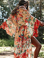 cheap -amazon european and american cross-border new products women's spring 2021 chiffon printed holiday long skirt sunscreen shirt beach blouse