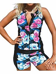 cheap -Women's Tankini 2 Piece Swimsuit Zipper Slim Photo Color Swimwear Bathing Suits New Casual Sports