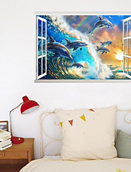 cheap -3D New Fake Window Wall Plaster Dolphin Group Surf Living Room Bedroom Corridor Decoration Removes Plaster