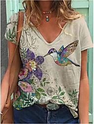 cheap -Women's Floral Theme T shirt Plants Flower Animal V Neck Basic Tops Regular Fit Light Green / 3D Print