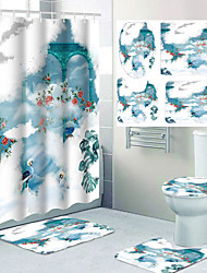 cheap -Dream Theme Bathroom Waterproof Shower Curtain and Hook Cushion Four-piece Casual Decoration