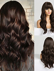cheap -Long Dark Brown Women's Wigs with Bangs Water Wave Heat Resistant Synthetic Wigs for Black Women African American Hair